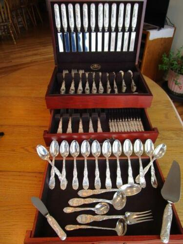 CHRYSANTHEMUM BY TIFFANY CO STERLING SILVER FLATWARE SET S-12+SERVERS 115P*EXCL