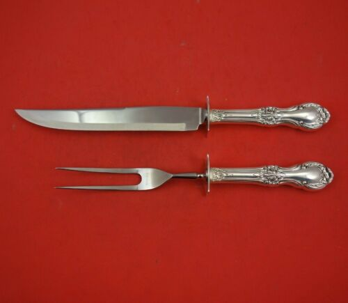 """Wild Rose by International Sterling Silver Steak Carving Set 2pc HH WS 10 1/4"""""""