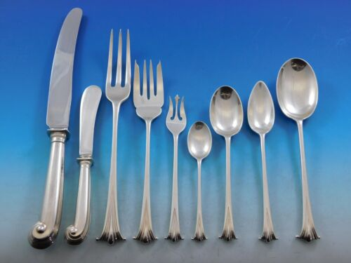 English Onslow by Worcester Sterling Silver Dinner Flatware Set Service 75 pcs