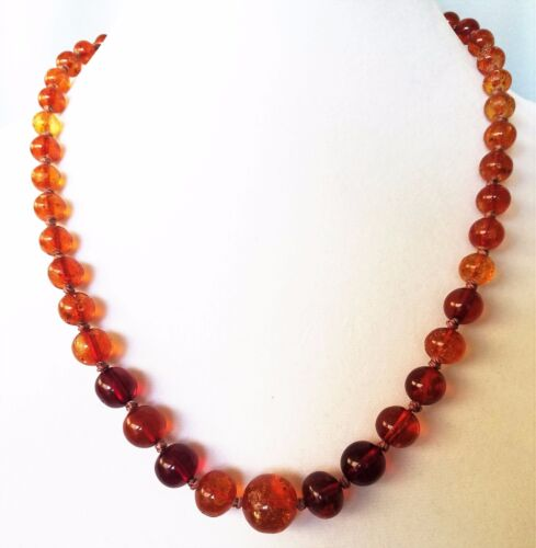 Antique Chinese Honey Amber Graduated Bead Necklace 29.9 Gr Sterling Clasp