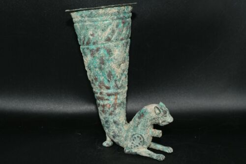 Ancient Persian Parthian Bronze Rhyton In Form Of a Wild Cat C. 250 BC – 220 AD