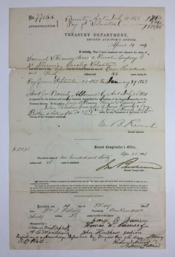 Civil War Document Back Pay And Bounty For Dead Soldier Illinois Cavalry 1864Documents - 165589