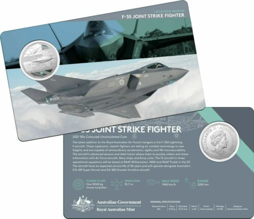 2021 RAAF F-35 Joint Strike Fighter Lockheed Martin 50c Coin
