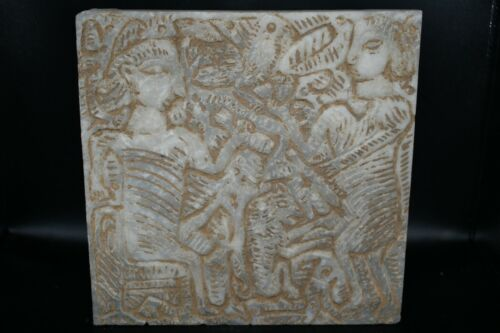 Stunning Genuine Old Near Eastern Marble Stone Tile with Engravings Relief Tile