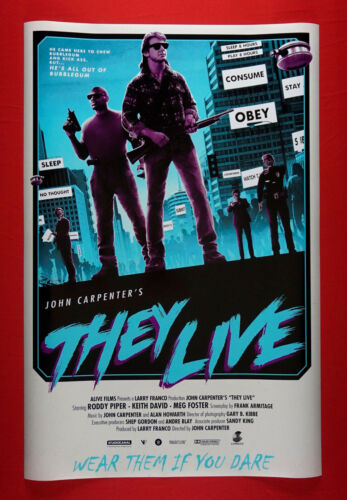 They Live John Carpenters Roddy Piper Keith David Movie Poster 24X36 New THY2