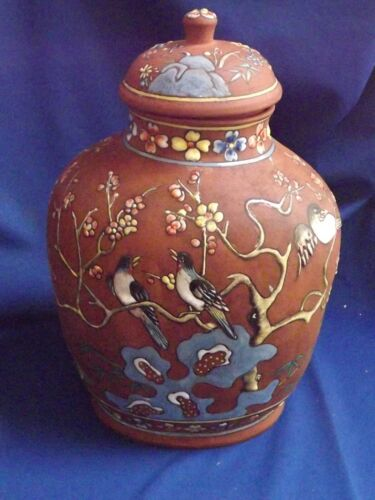 """Antique Chinese YIXING ZISHA Red Clay Birds & Blossoming Prunis 13""""H Temple Jar"""
