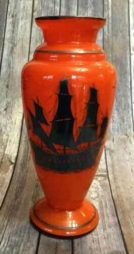 """Czech Silver Overlay Orange Tango Vase With Ship Silhouette Antique Tall 12.75"""""""