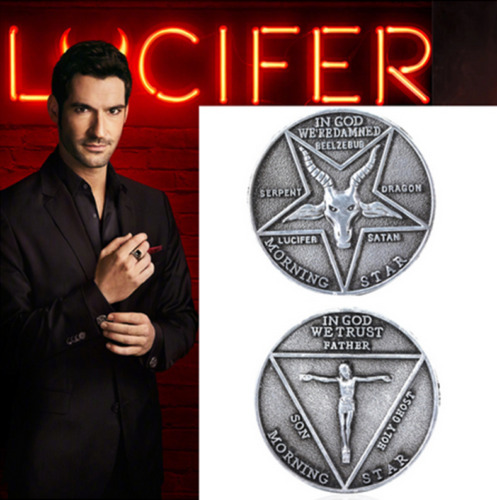 Lucifer Morning Star Coin Pentecostal Cosplay Costume Props Accessories