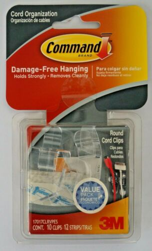 3M Command Clear Round Cord 10 Clips 12 Strips Value Pack