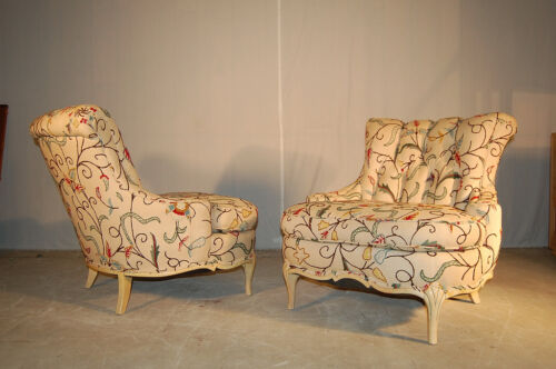 French Style Slipper Chairs Hollywood Regency Crewel