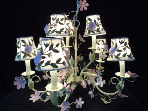 Painted Tole Chandelier Country Chic Floral Embroidered Tulle Shades Shabby Chic