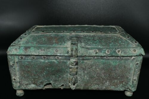 Genuine Ancient Islamic Bronze Box with Stunning Silver Gilded Calligraphy