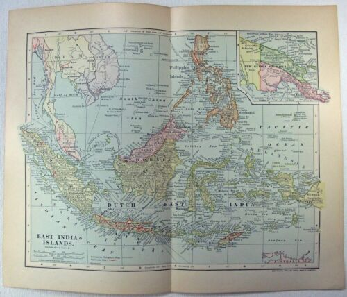 East India Islands - Original 1903 Map by Dodd Mead & Co. Philippine Indonesia