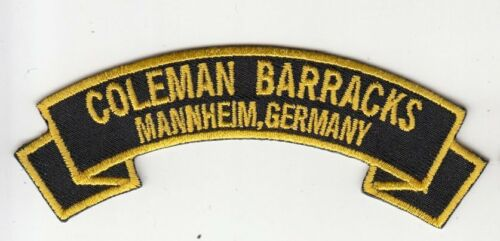 """Coleman Barracks, Mannheim Germany embroidered 4"""" scroll tab patch"""