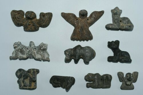 Lot Sale 10 Large Ancient Bactrian Stone composite Animal Figurines Bead Amulets