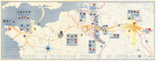 """1945 Map VIII Corps In European Theater of op. US Army 6""""x16"""" Military War Print"""