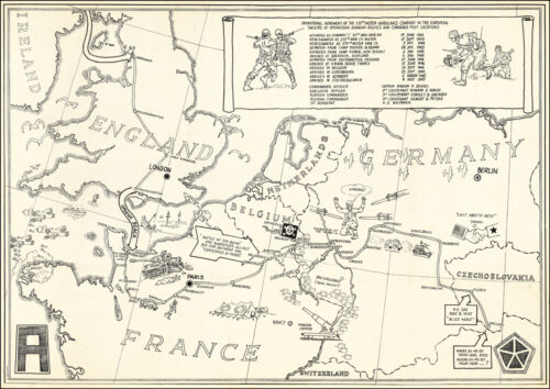 1945 WWII Triumphal Map 575th Motor Ambulance Company Military War Poster 11x16