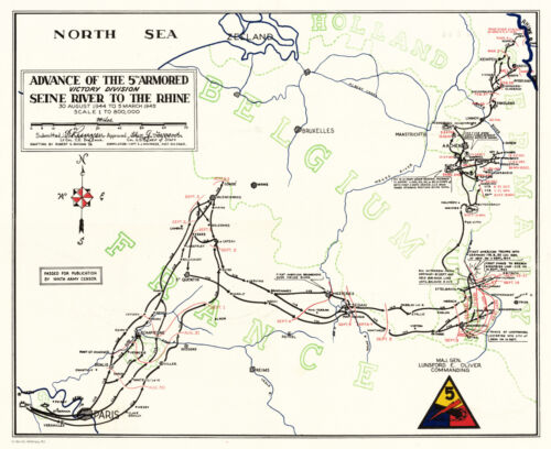 """1945 WWII Map Movements of the 5th Armored Infantry Div. Military 11""""x13"""" Print"""