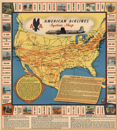 11x12  American Airlines System Map History Wall Art Poster Print Decor Vintage