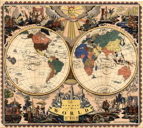 """1928 Map of the World Two Hemispheres 11""""x12"""" Wall Art Poster Print Decor"""
