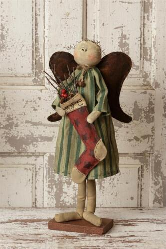 Country Farmhouse Standing Angel Holding A Stocking - HOPE