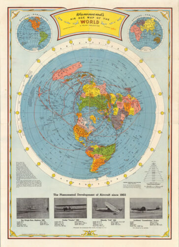 1948 Flat Earth Air Age Map of the World Wall Art Poster Print Home Decor 11x15