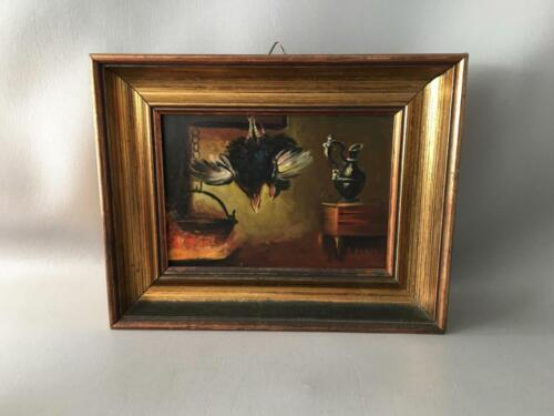 VINTAGE STILL LIFE GAME BIRD OIL PAINTING on BOARD w GOLD GILT WOOD FRAME SIGNED