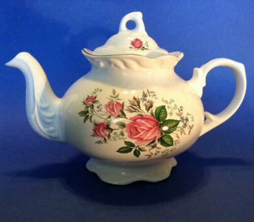 Arthur Wood And Son Teapot - Embossed White Porcelain With Pink Roses - England