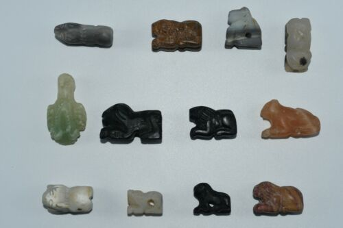 Lot Sale 12 Ancient Bactria Margiana Stone Animal Bead From Northern Afghanistan