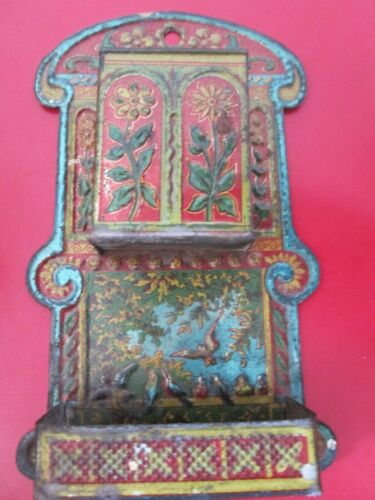 Antique -  DOUBLE - TIN  WALL  MATCH HOLDER & MATCH BOX HOLDER   - w/ BIRDS
