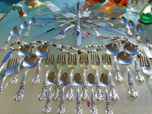 48pc OLD STERLING SILVER REED BARTON FRANCIS 1 FLATWARE SET SERVERS HEAVY GOLD
