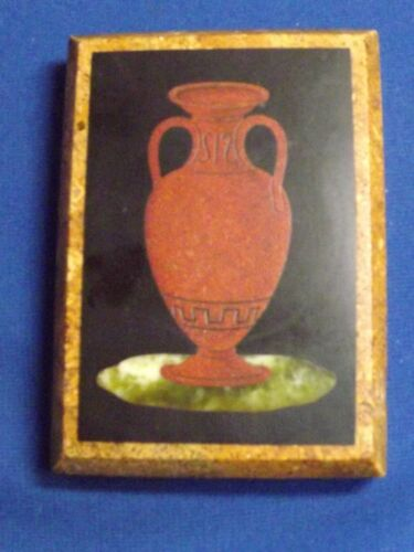"""Antique Pietra Dura RARE Rust Red Grecian Urn Paperweight Plaque 3 1/4"""" by3 5/8"""""""