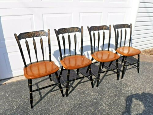 """Hitchcock Set(4)Black/Harvest Arrow Back Side Chairs""""FREE""""Greyhound Shipping"""