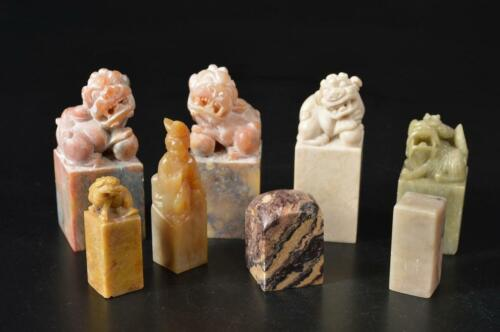 U2125: Chinese Stone Lion sculpture Chop stamp material SEALS Calligraphy tool.