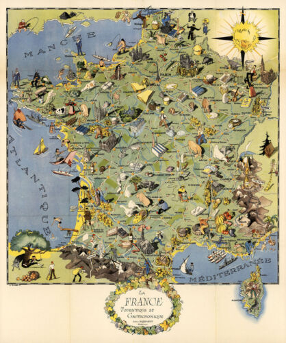 """Early 11""""x13"""" Map Gastronomy of France Gastronomique Mid-century Poster Wall Art"""