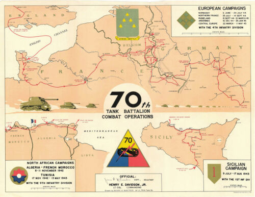 """70th Tank Battalion Combat Operations Campaign Map WWII Military 11""""x14"""" Map"""
