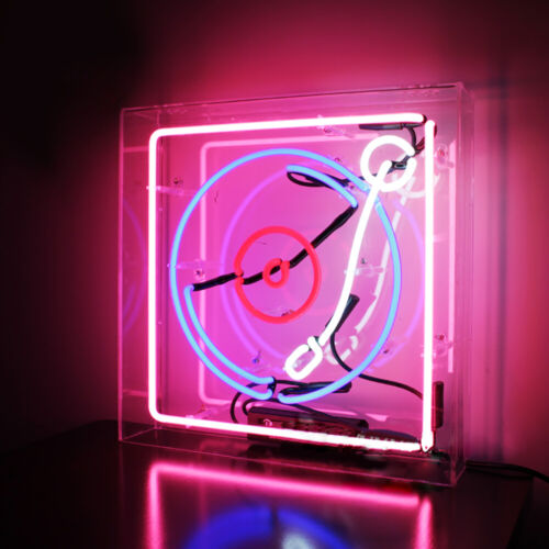 """Records Neon Sign Light Acrylic Box Handcraft Art Real Glass Tube Gas Filled 14"""""""