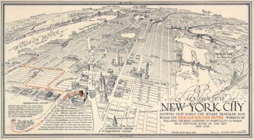 """Pictorial Aerial View New York City Historic Wall Art Poster Genealogy 9""""x16"""""""