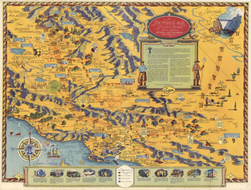 """1935 Pictorial Map Edison Electrical Service System in California 11""""x14"""" Poster"""