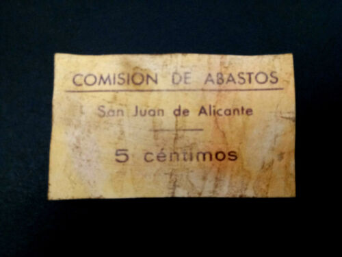 BILLETE LOCAL 5 CTS COMISION DE ABASTOS SAN JUAN DE ALICANTE