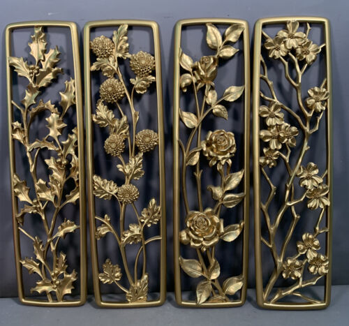 1950's (4) Vintage MCM Old SYROCO FLOWER PLAQUE Old RETRO Mid Century WALL DECOR