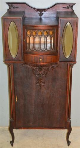18894 Victorian Mahogany Fancy Carved Music Sheet Cabinet