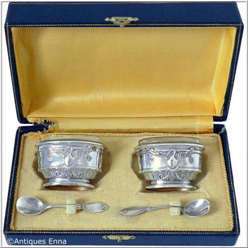Rare French Sterling Silver 18k Gold Salt Cellars Pair, Spoons, Box,Empire,Swan