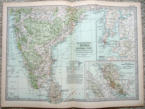 Southern India - Original 1897 Map by The Century Company. Antique