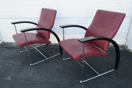 Mid Century Modern Deco Pair of Living Bed Room Office Side Chairs 1956