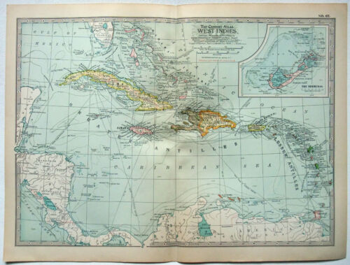 The West Indies - Original 1902 Map by The Century Co. Antique