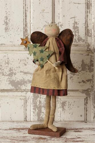 Country Farmhouse Standing Angel Holding Fabric Tree