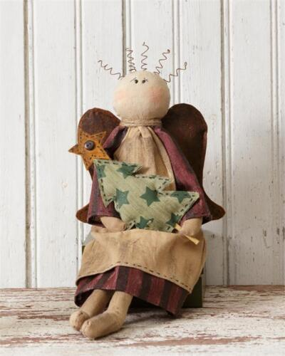 Country Farmhouse Sitting Angel Holding Tree