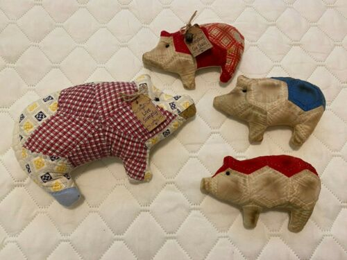 Primitive Pigs Set of 4 - Handcrafted From Vintage Quilts - Farmhouse Country