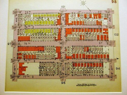BROOKLYN MAP 1929 BATH BEACH 19th 20th 21st AVE. Matted